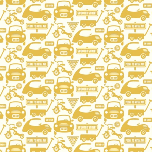 Riley Blake Designs - Cruiser Blvd - Cruiser Cars on Yellow *** REMNANT 3 METRE PIECE ***