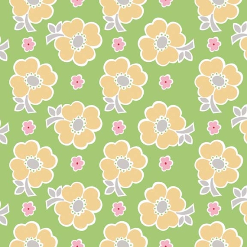 Riley Blake Designs - Bake Sale - Floral in Green  ***REMNANT PIECE 2 METRES***