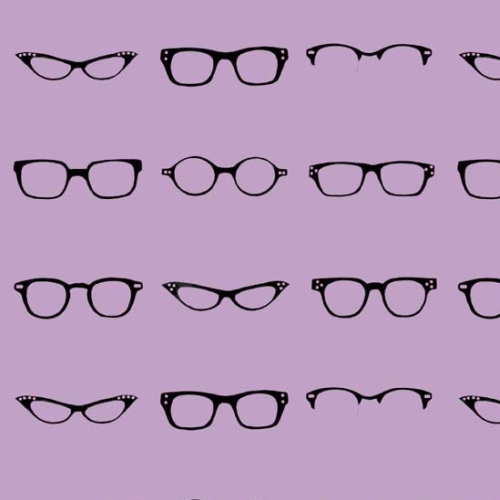 Riley Blake Designs - Geekly Chic Glasses in Lavender *** REMNANT 3 METRE PIECE ***