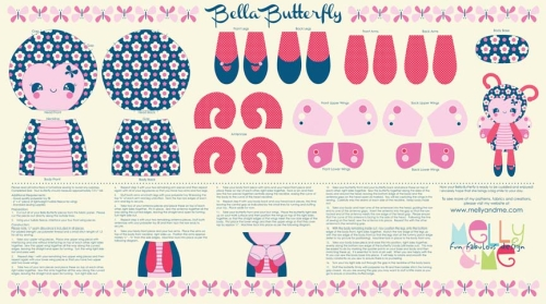 Riley Blake Designs - Flutterberry by Melly & Me - Bella Butterfly Softie Panel in Navy