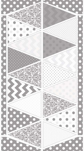 Riley Blake Designs - Hollywood Sparkle Bunting Panel in Grey / Silver