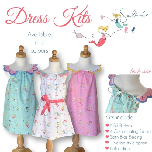 Saltwater Girls Dress Kit - Sizes 1 to 3 in White