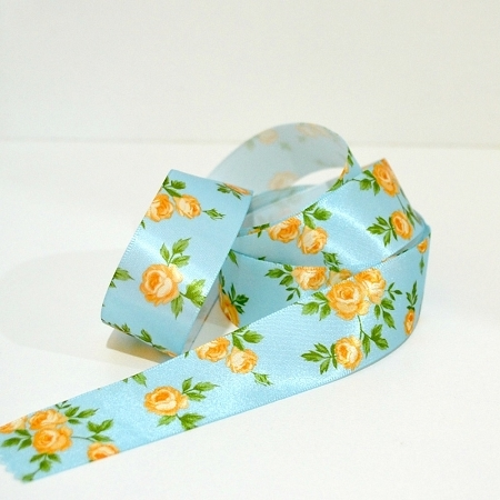 Printed Floral Satin Ribbon - Spring Garden - Blue 25mm