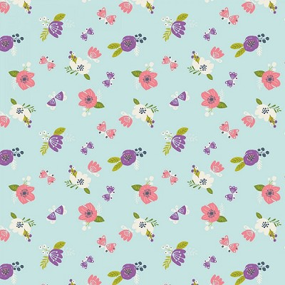 Camelot Fabrics - I Believe In Unicorns - Flowers in Aqua
