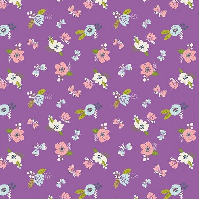 Camelot Fabrics - I Believe In Unicorns - Flowers in Orchid