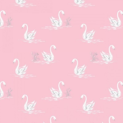 Camelot Fabrics - The Grace Collection by Laura Ashley - Swans in Pink