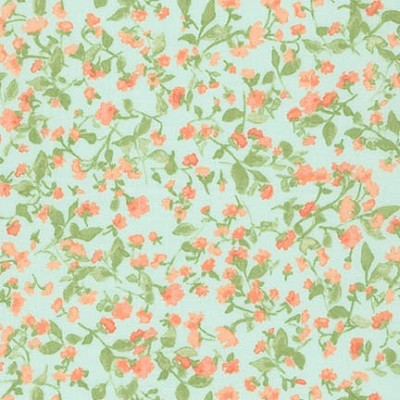 Robert Kaufman - Woodland Clearing Cotton Lawn Watercolour Floral Turquoise