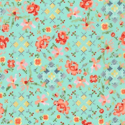 Robert Kaufman - Woodland Clearing Cotton Lawn Pixel Floral Turquoise