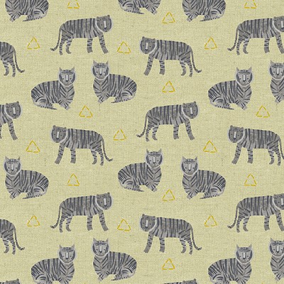 Andover Fabrics & Makower UK - Tiger Plant Linen - Tigers on Tailored Cloth in Greige