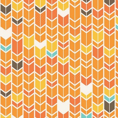 Riley Blake Designs - Fun & Games - Chevron in Orange