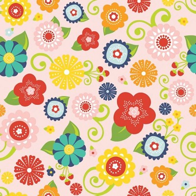 Riley Blake Designs - Lazy Days - Floral in Pink