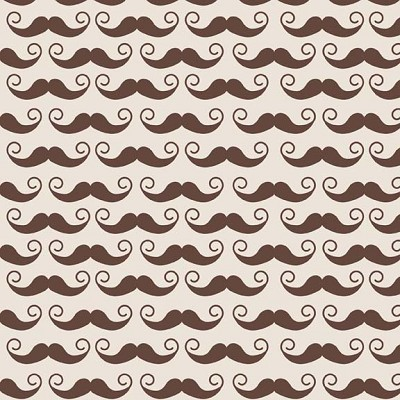 Riley Blake Designs - Geekly Chic Moustache Brown on Cream