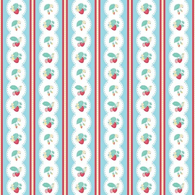 Penny Rose Fabrics - The Shabby Strawberry Stripe in Blue