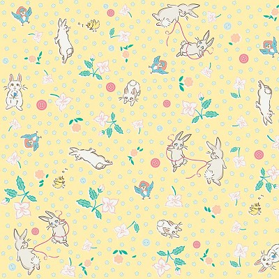 Penny Rose Fabrics - Bunnies and Blossoms Main Yellow