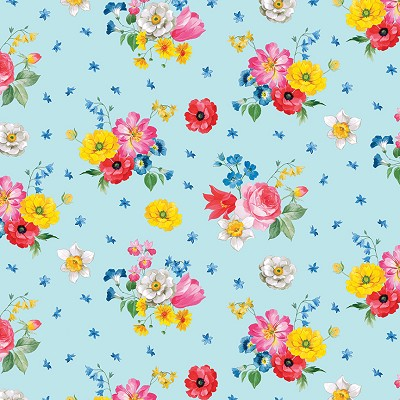 Penny Rose Fabrics - Afternoon Picnic Floral in Blue