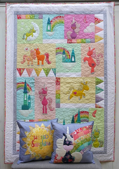 Claire Turpin Designs - Rainbows and Unicorns - Quilt and Cushion Pattern Set