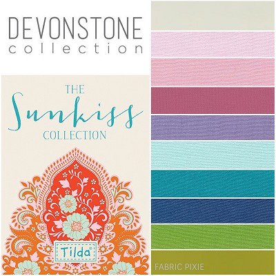 Devonstone Collection - Fat Quarter Bundle of 10 solids Co-ordinating with Tilda Sunkiss