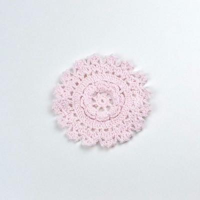 Cotton Crochet Doily - Small in Pink