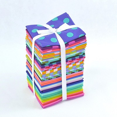 Freespirit - Tula Pink - ALL STARS - Pom Poms, Stripes and Solids Fat Quarter Bundle of 46 Pieces
