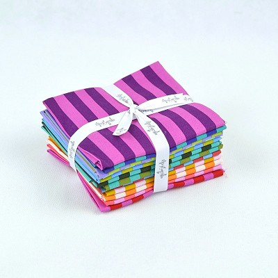 Freespirit - Tula Pink - ALL STARS - Tent Stripes - Fat Quarter Bundle of 12 Pieces