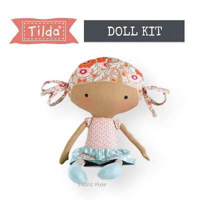 Tilda Bird Pond Rag Doll In Sand Aqua Fabric Only Kit