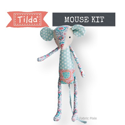 Tilda - Bird Pond - Baby Mouse Aqua/Orange Fabric Only Kit