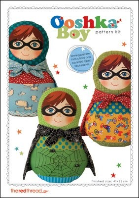 The Red Thread - Super Ooshka Boy Doll Pattern plus printed fabric face panel