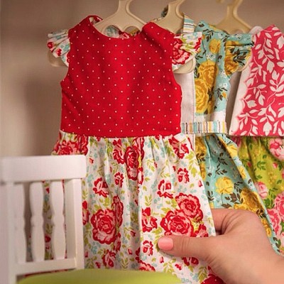 Riley Blake Designs Primrose Garden Doll Dress Panel in Red