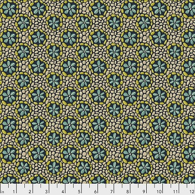Freespirit Fabrics Land Art Stone Flowers in Navy