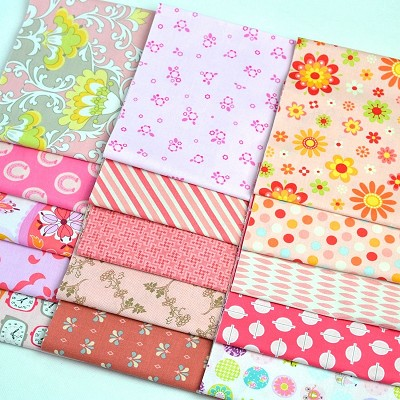 "Fabric Scrap Bag 9"" Strips suitable for Face Masks - Pretty in Pink"
