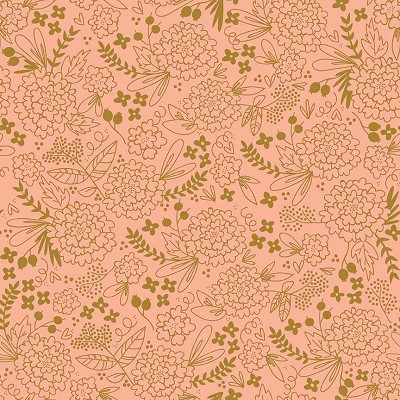 Riley Blake Designs - On Trend Floral in Coral with Metallic Gold Sparkle