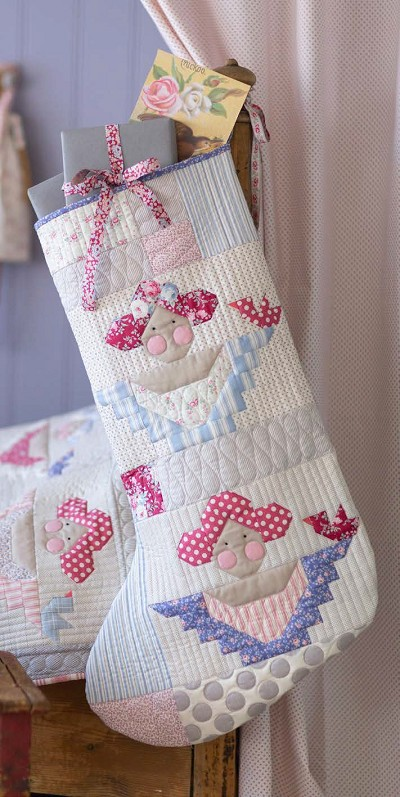 Tilda - Old Rose Scrap Angels Christmas Stocking in Blue/Red