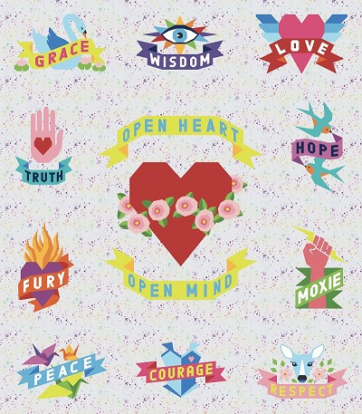 Tattoo Quilt FULL KIT in Solids on Fairy Dust Whisper Background