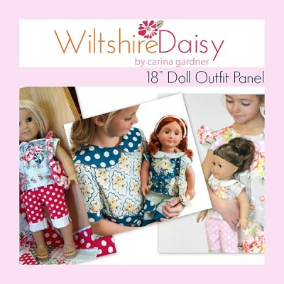 Riley Blake Designs - Wiltshire Daisy Doll Outfit Panel - 3 colours to choose from