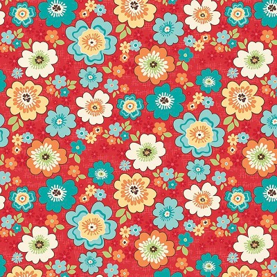Riley Blake Designs - Road Trip Blossoms in Red
