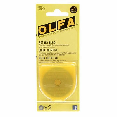 Olfa Replacement Blades for 45 mm Rotary Cutter - Pack of 2 Blades