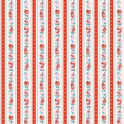 Penny Rose Fabrics - Milk, Sugar and Flower - Stripe in Red