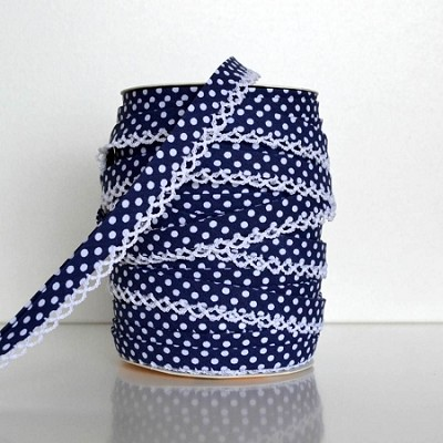 Picot Edge Bias Binding Trim - Navy Spot