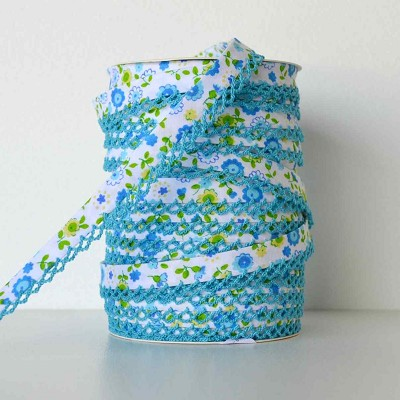 Picot Edge Bias Binding Trim - Aqua Floral