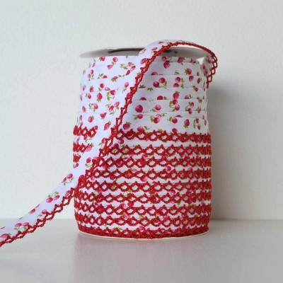 Picot Edge Bias Binding Trim - Red Cherry