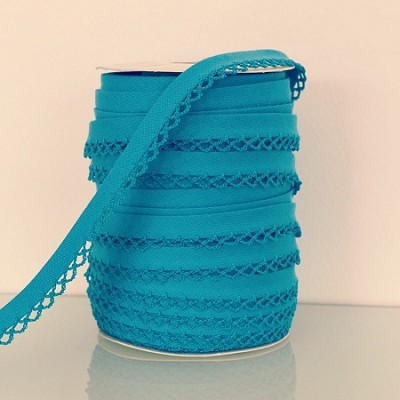Picot Edge Bias Binding Trim - Turquoise