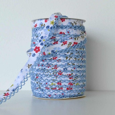 Picot Edge Bias Binding Trim - Blue Floral