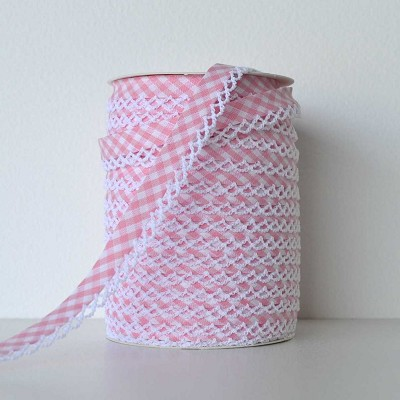 Picot Edge Bias Binding Trim - Baby Pink Gingham