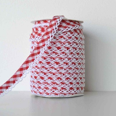 Picot Edge Bias Binding Trim - Red Gingham