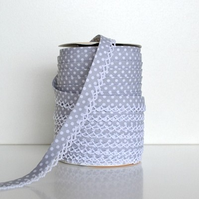 Picot Edge Bias Binding Trim - Grey Spot