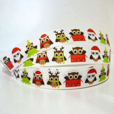 Printed Grosgrain Ribbon - Christmas Owls2 - 25mm
