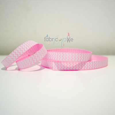 Chevron Grosgrain Ribbon in Baby Pink - 9mm
