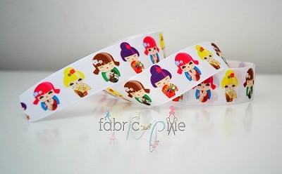 Printed Grosgrain Ribbon - Kokeshi - 25mm