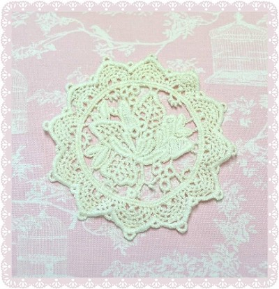 Cotton Lace Applique / Motif - Round Flower - Natural Beige