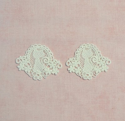 Lace Applique / Motif - Sweet Cat Cameo in White - Pack of 2